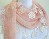 Apricot  Special Fashion Lace Shawl /Scarf purple  Lace Trimming combines together,chiffon