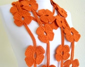 autumn, wool, hand-made,fashion,gift,Christmas,Tangelo scarf with crochet flower patterns, Lariat scarf