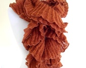 ruffle scarf, gift, Scarf ,Holiday Accessories, winter trends, fashion, 2014, for women, uniqu,Mahogany