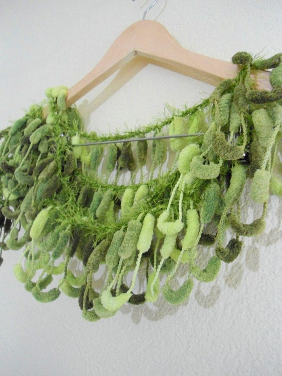 Shades of green pompom yarn curly puffy mulberry cocoon long crochet scarf.......