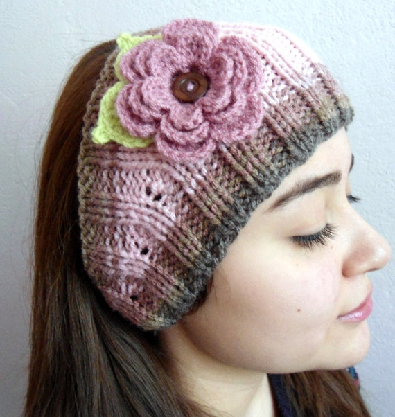 Knitted Headband Patterns With Flower : warm knit headband Flower Headband knitting gift