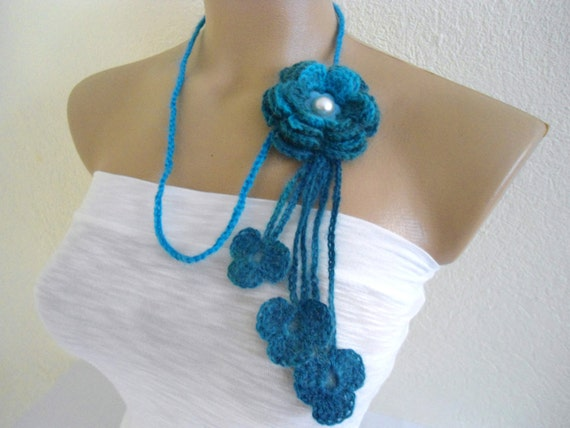 Flower Lariat Scarf, Blue, Necklace with crochet flower patterns , hand-made,fashion,gift, mothers day,unique