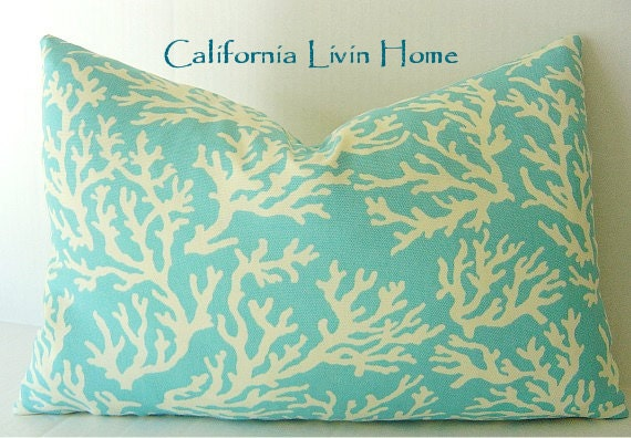 "Cool Coral Lumbar Pillow Cover / 12"" x 18"" / Blue  / Indoor/Outdoor Fabric / Hidden Zipper Closure / DECORATIVE PILLOW"