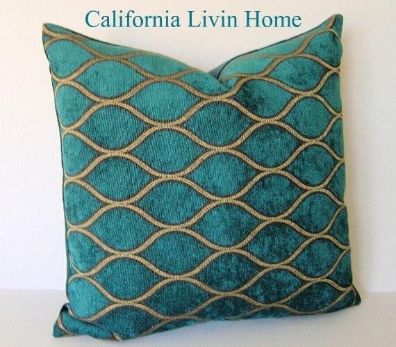 "IMAN / Malta Deep Water Pillow Cover / 18"" x 18"" / Peacock Turquoise Velvet / Designer Fabric / Decorative Pillow"