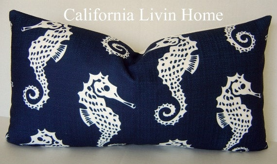 "SeaHorse Lumbar Pillow Cover / Michael Jon Fabric / Navy & White / 12"" x 22"" / Hidden Zipper Closure / Designer fabric / Accent Pillow"