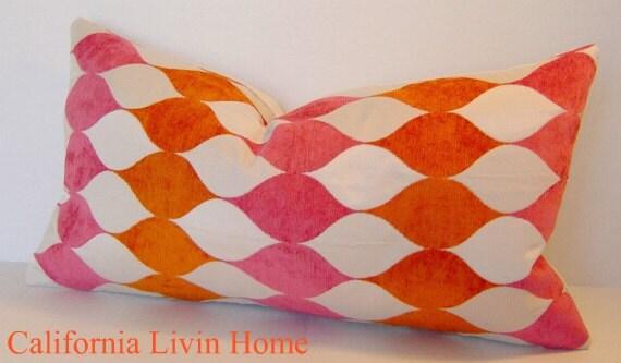"Simply Modern Tigerlily BEACH GLAM Lumbar Pillow Cover / 12"" x 22"" / Mango Raspberry / Designer Pillow / Designer Fabric"