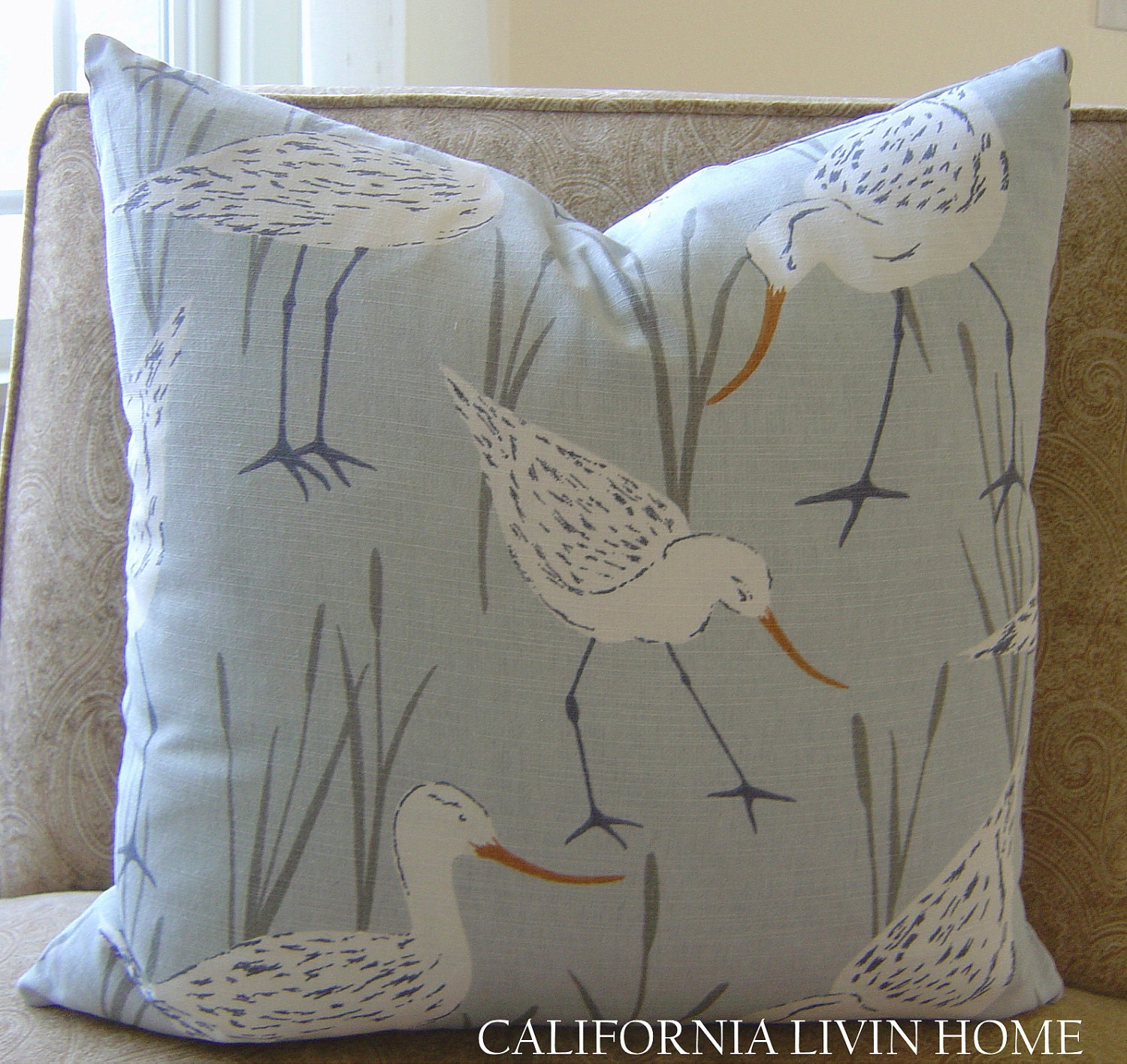 Coastal Decorative Pillow Covers : Coastal Sandpiper Pillow Cover / 18 x 18 / by CaliforniaLivinHome