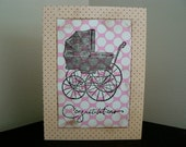 Old Time Baby Carraige and Polka Dots - Congratulations on Your New Baby Card