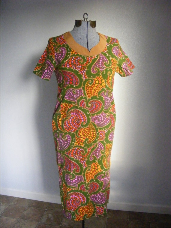 60s Psychedelic Barkcloth Tunic Wiggle Dress L - Jahaca Prints REDUCED PRICE