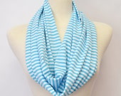 Nautical Stripes Cotton Infinity Loop Circle Eternity Summer Scarf Sailor Fashion Accessory