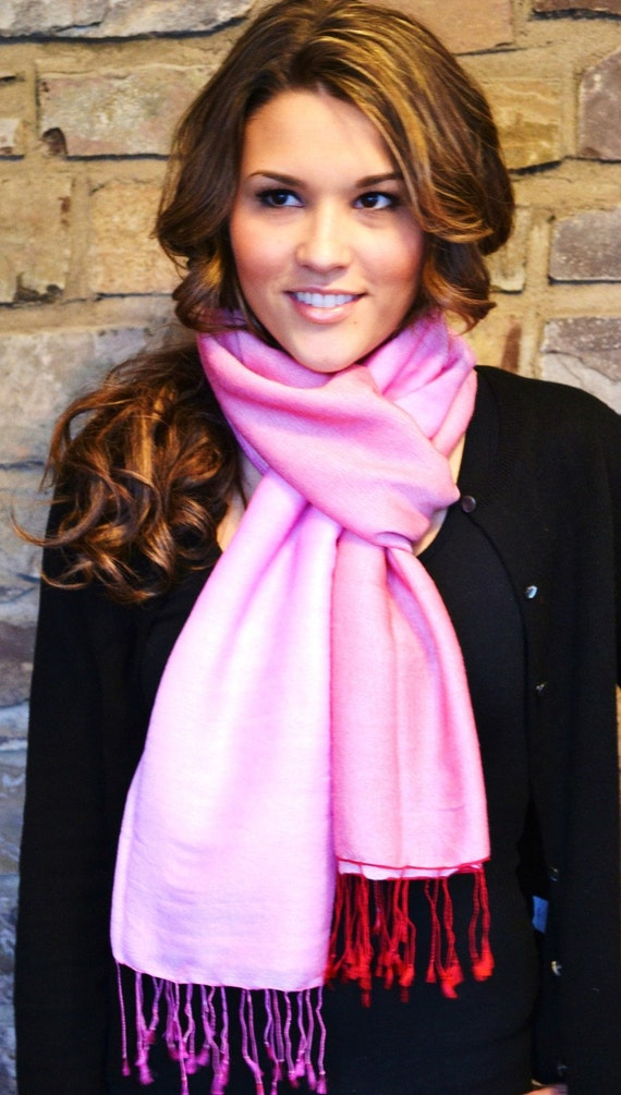 30.00 CLEARANCE SALE Honeysuckle Pink Cashmere and Silk Ombre Shawl Wrap Scarf