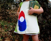 Child Art Apron - Traditional Gnome / Blue and Red. Applique Canvas. Ages 2-10.