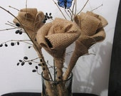 Burlap Roses Fabric Flowers Decorative Rustic Art