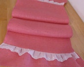 Ruffled  Pink Burlap Table Runner 7 Feet Long