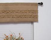 Burlap Ruffled  Valance Rustic Curtain Handmade Window Treatments