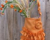 Burlap Tote Bag Two Ruffles  Rose  Orange