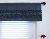 Blue Ruffled  Burlap Valance Blue Rustic Curtain Your Choice the Width  Handmade in the USA