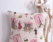 Accent Pillow Decorative Paris French Print Pillow Cover 18 x  18 - supplierofdreams
