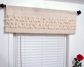 Custom Made Ivory Ruffled  Burlap Valance