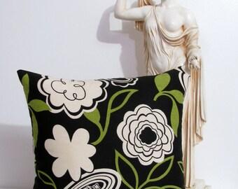 Modern Decorative Pillow  Cover Black Natural Green 18 x 18 HANDMADE in USA