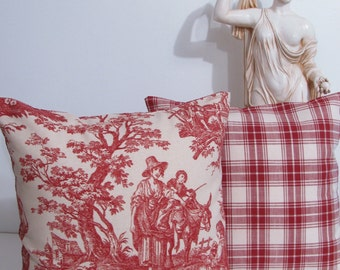 SALE!!! Decorative  Pillow Cover 16 x 16 Country Life  Garnet  Toile by Waverly  Handmade in the USA
