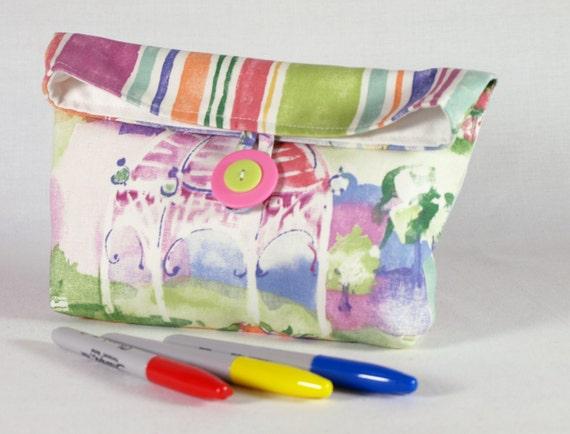 Makeup Bag Cotton Button Clutch Large Cosmetic Bag