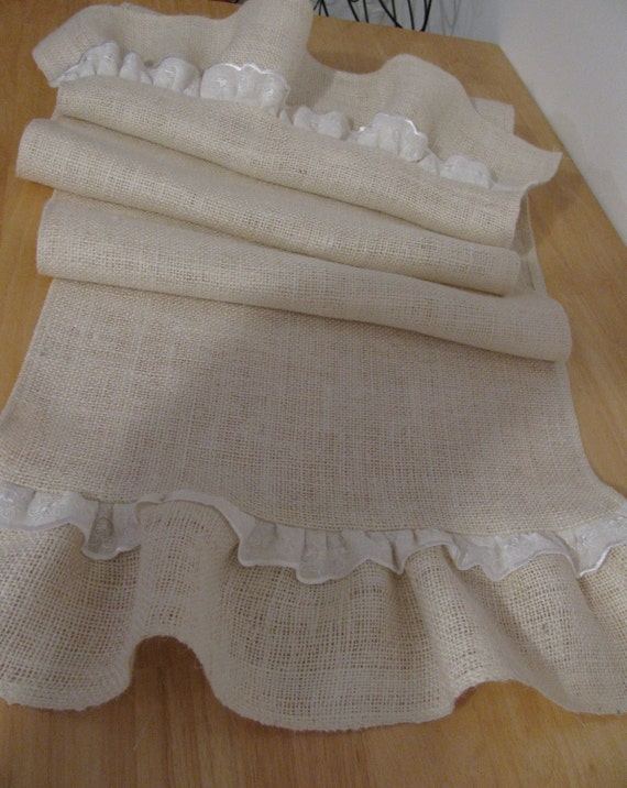 Ruffled Burlap Table Runner  with Lace 15 X 84