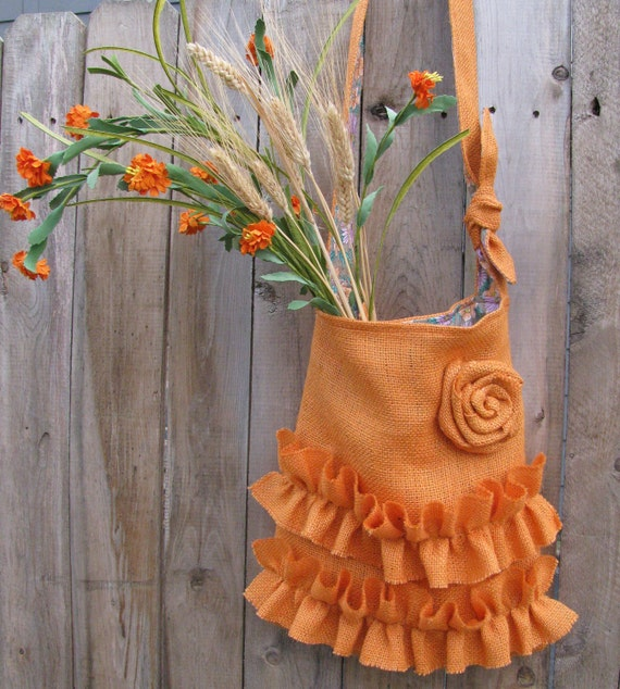 Burlap Tote Bag Two Ruffles  Rose  Orange