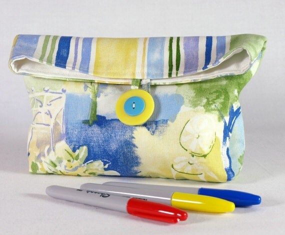 Cosmetic Bag/ Cotton Button Clutch/ Large Makeup Bag/ School Bag/ Ready To Ship
