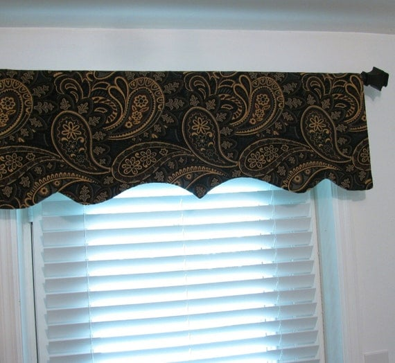 Reserved Listing for Stephanie  Two Decorative Paisley Valance & One Pillow Cover