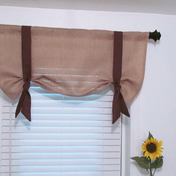 Items Similar To Custom Burlap Window Valance Tie Up
