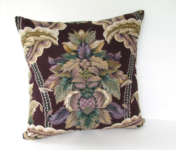 SALE!!! Ready to Ship!!! Designer Floral Purple Pillow Cover Fleur-De-Lis Pillow.