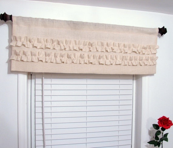 Ruffled Burlap Valance Ivory/ Off White  Custom Sizing Available!