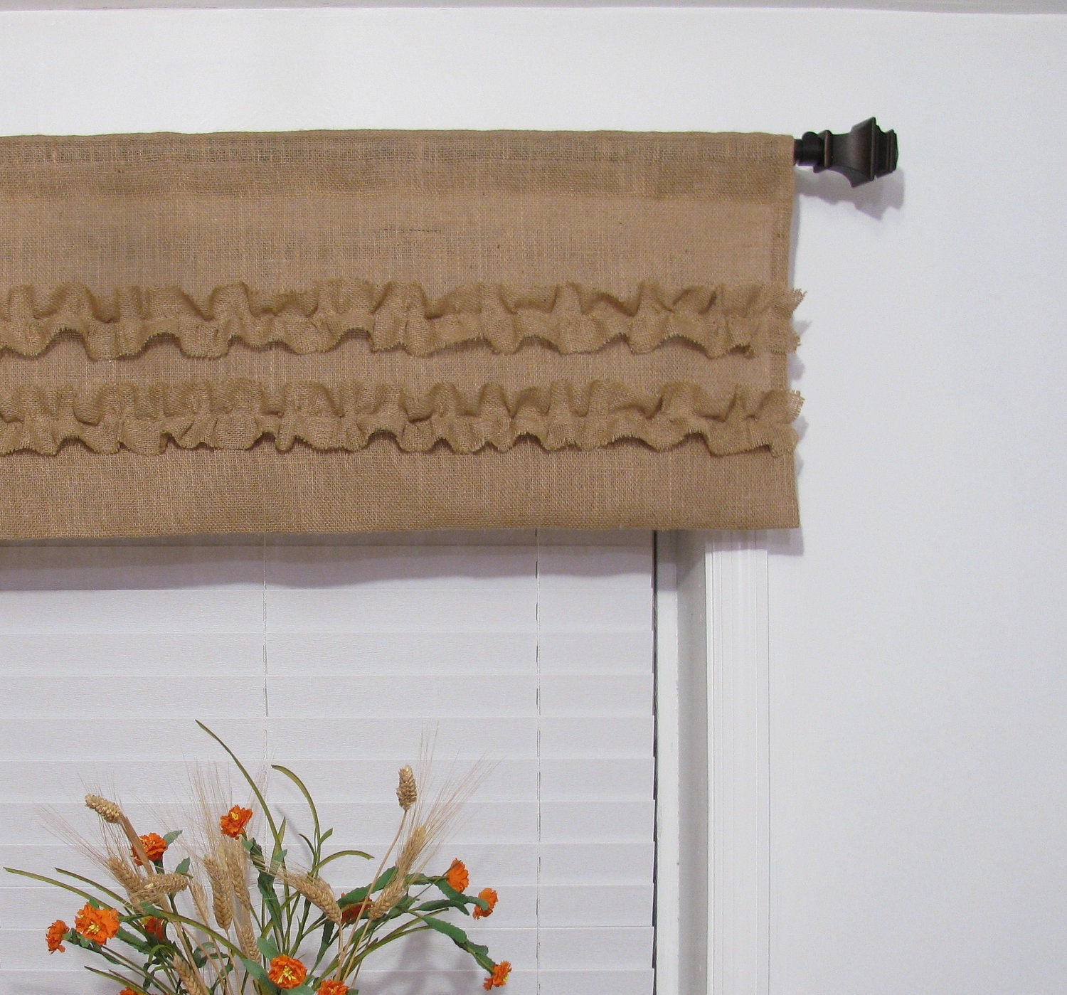 Burlap Valances For Windows : Burlap ruffled valance rustic curtain handmade window