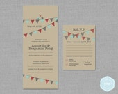 Love Birds / Bunting Wedding Invitation & RSVP Card Set [Printable | DIY | Digital File]