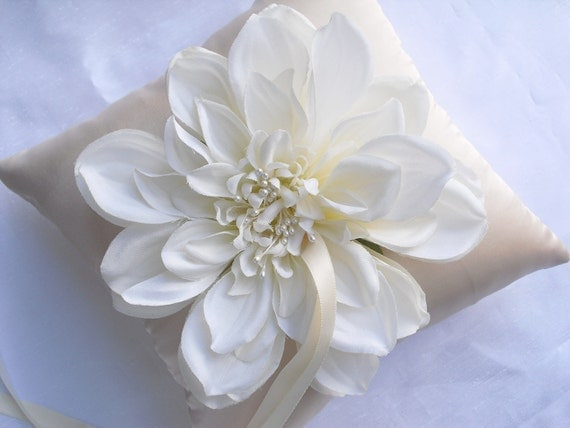 Ivory Silk Flower Bloom with Champagne Satin Ring Pillow Bearer