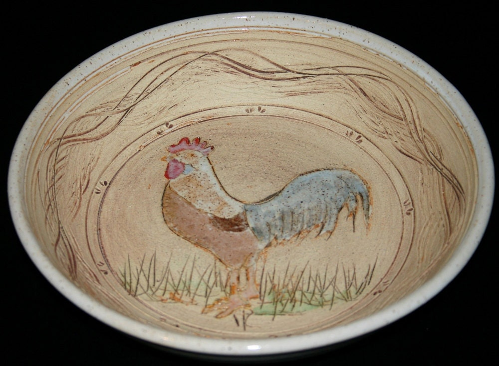 Stoneware Rooster Pie Plate Bowl Hand Thrown