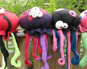 Giant Jellyfish Black with Pink Spots  Pink & Blue Tentacles