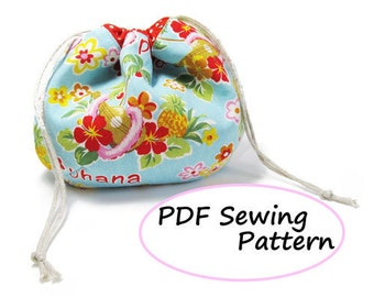 PDF Sewing Pattern -Drawstring Pouch- (Downloadable)