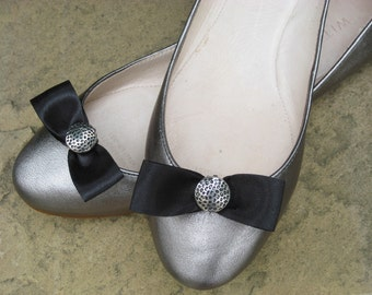 Little Black Bow Shoe Clips FREE SHIPPING
