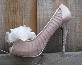 Wedding White English Rose Flower Shoe Clips FREE SHIPPING