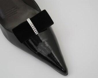 Shoe Clips - Black Velvet Ribbon Bows with Diamante Bling FREE SHIPPING