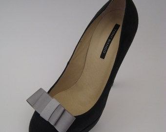 Grey on Grey Grosgrain Dior Bow Shoe Clips FREE SHIPPING