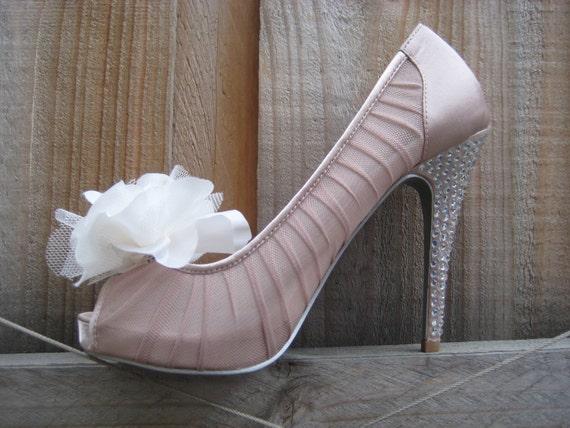 Wedding White English Rose Flower Shoe Clips FREE SHIPPING