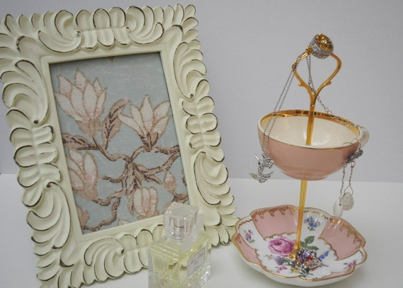 Jewelry Display Stand - Vintage Pink - Vintage Mismatched European China Handmade, OOAK 2 Tier Stand