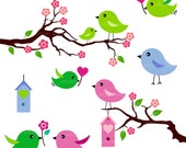 LOVE BIRDS (Apple green) - 6 piece clip art set. For commercial and personal use.