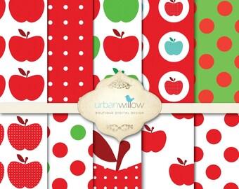 ROSY Red Apples, digital paper pack/ digital backgrounds. INSTANT DOWNLOAD.