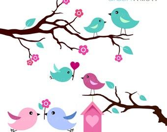 MINT LOVE BIRDS - Clip art set in Jpeg & Png files.