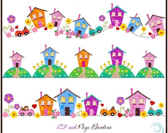 LITTLE HOUSE - Clip art page borders. (Jpeg & Png files).