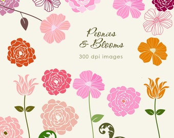 PEONIES & Blooms - 19 piece clip art set. Jpeg and Png files.